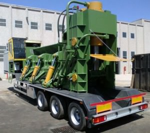 Idromec Shear-Balers T500R on trailer for scrap and metals processing