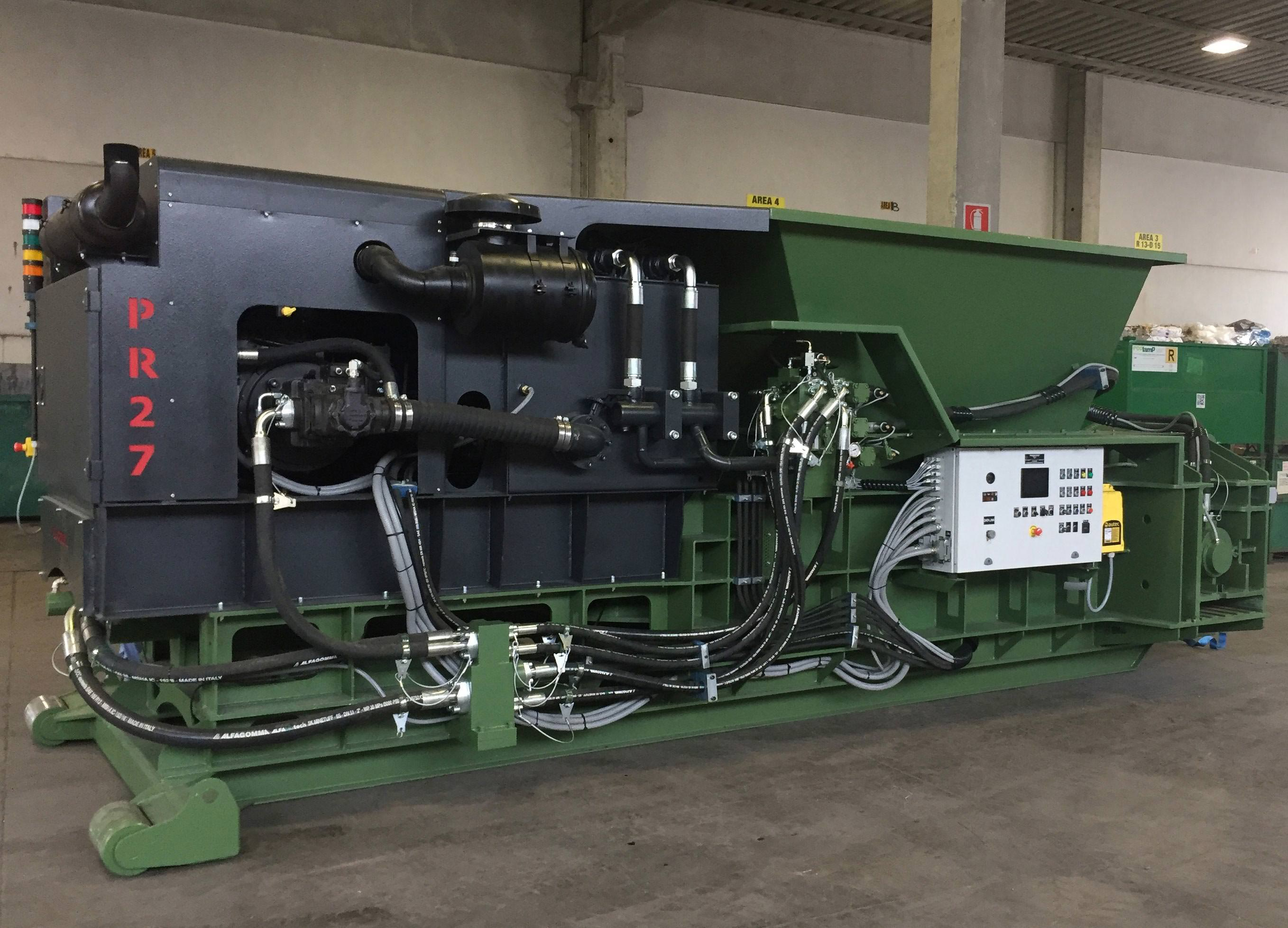 Idromec mobile baler multimaterial PR27 for waste processing